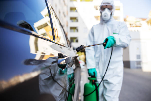 Worker in sterile uniform and mask standing outdoors and sterilizing car from corona virus / covid-19. Selective focus on sprayer. stock photo