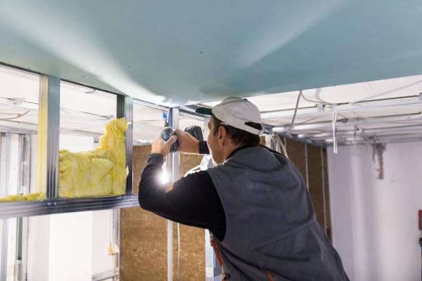 worker is fixing the drywall - gips materiał budowlany zdjęcia i obrazy z banku zdjęć