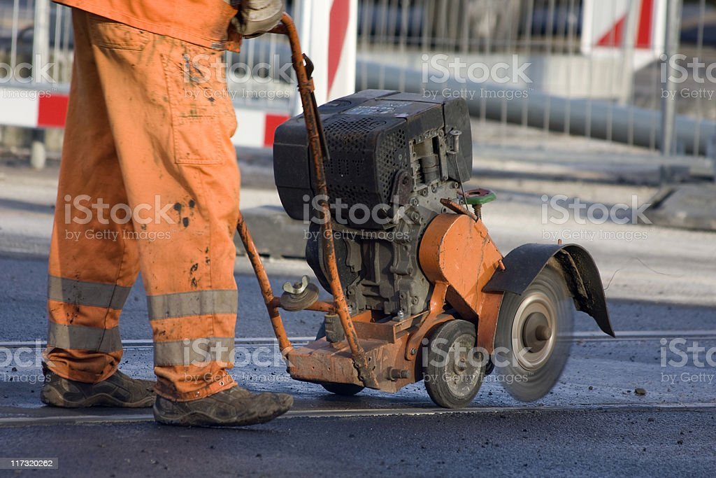 Worker is grinding rails stock photo