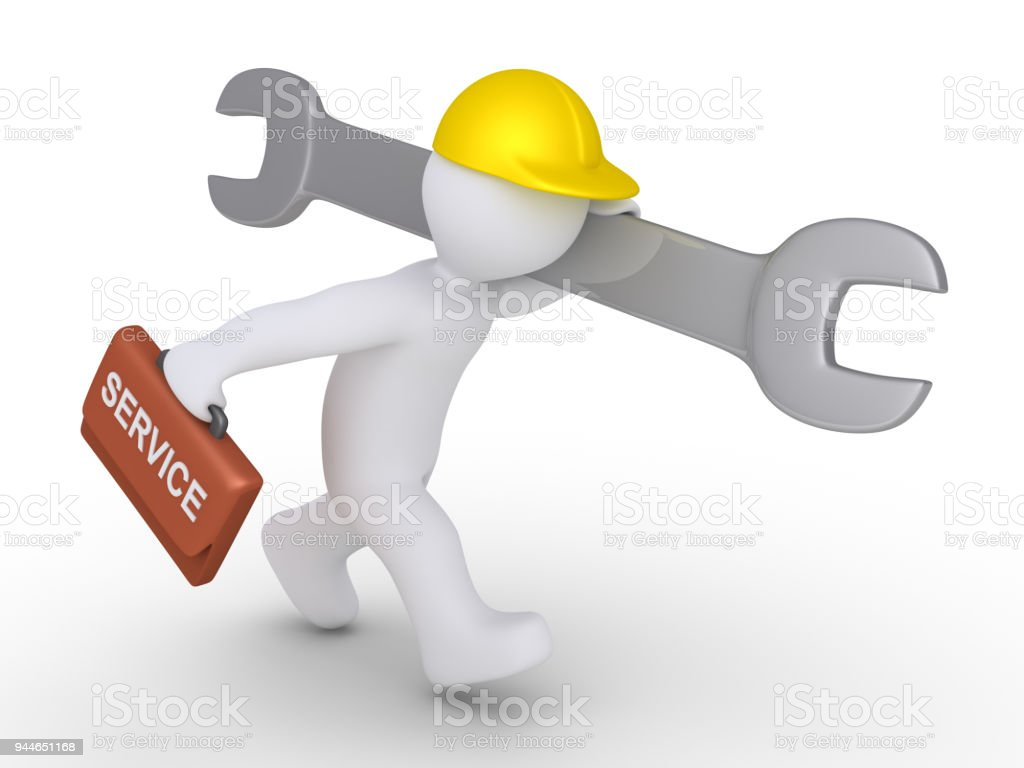 Worker is running to provide service stock photo