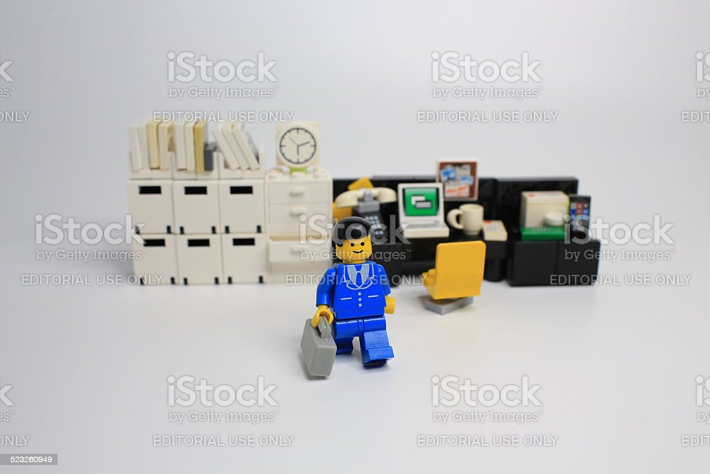 worker lego mini characters from office stock photo