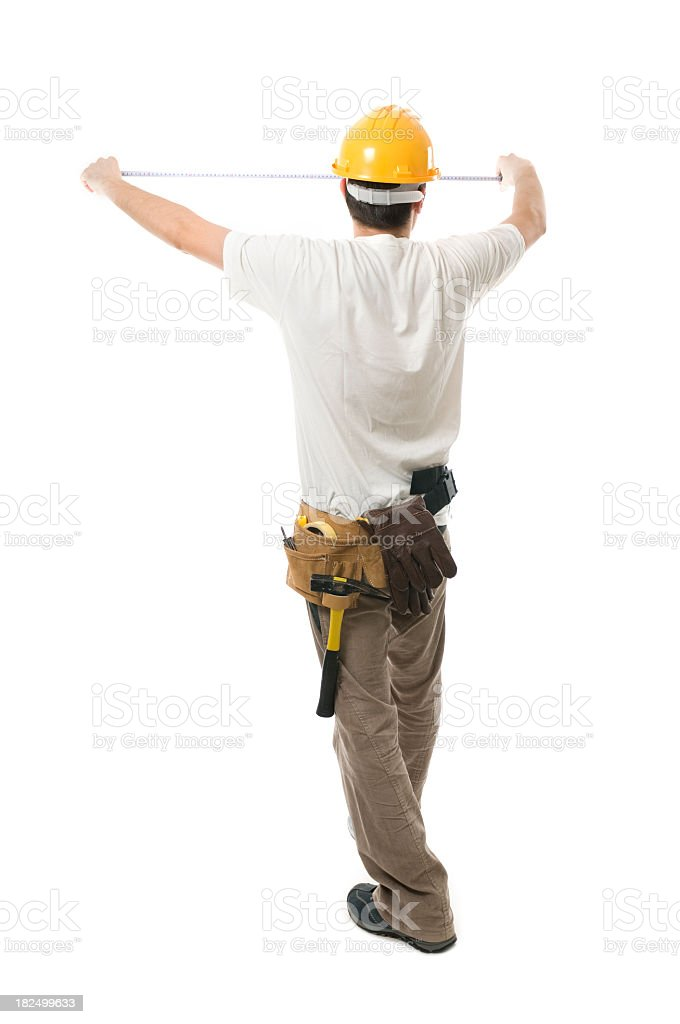 Worker measuring stock photo