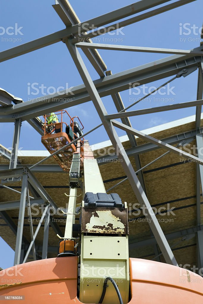 Worker on an Aerial Work Platform at Commercial Construction Site stock photo