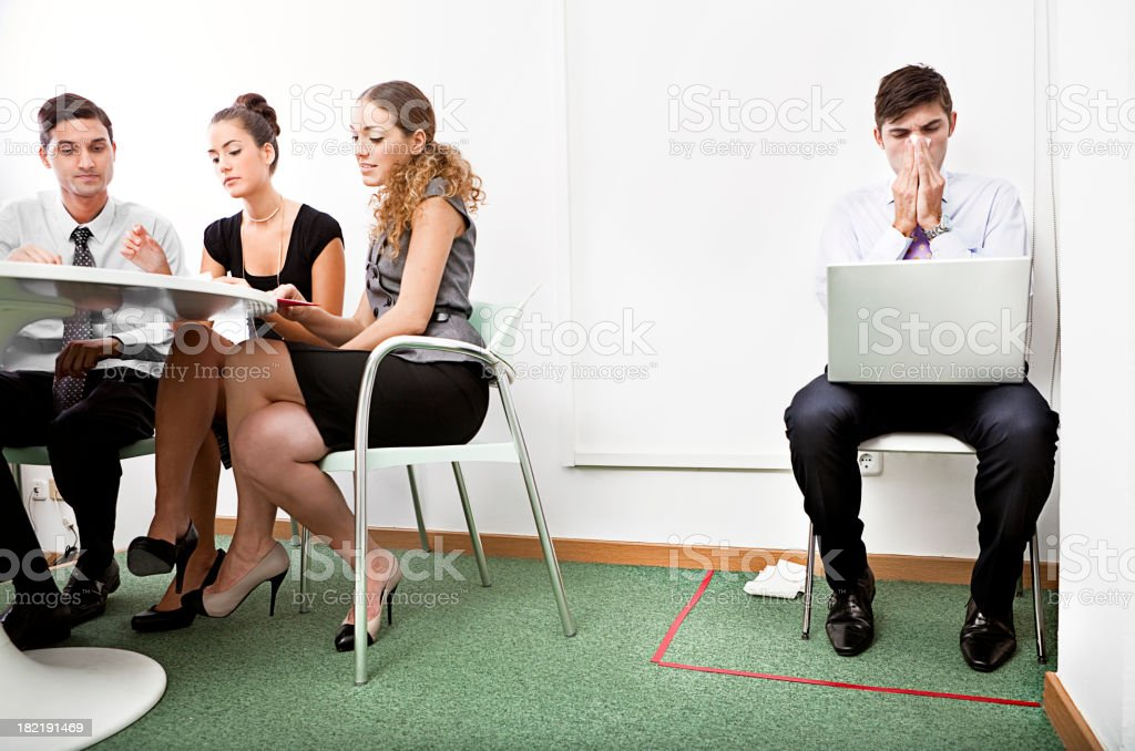 Worker on quarantine with flu royalty-free stock photo
