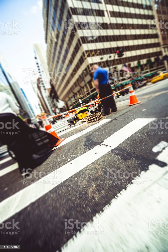 Worker on the streets in New York stock photo