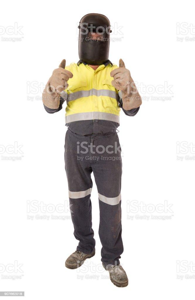 Ein Arbeiter auf weiß – Foto