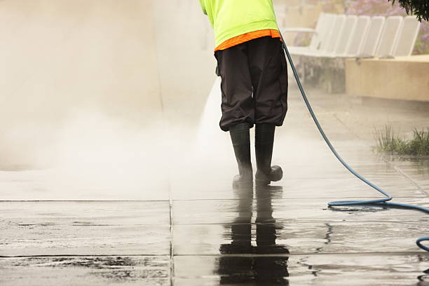 worker steam cleans sidewalk - power in nature stock photos and pictures