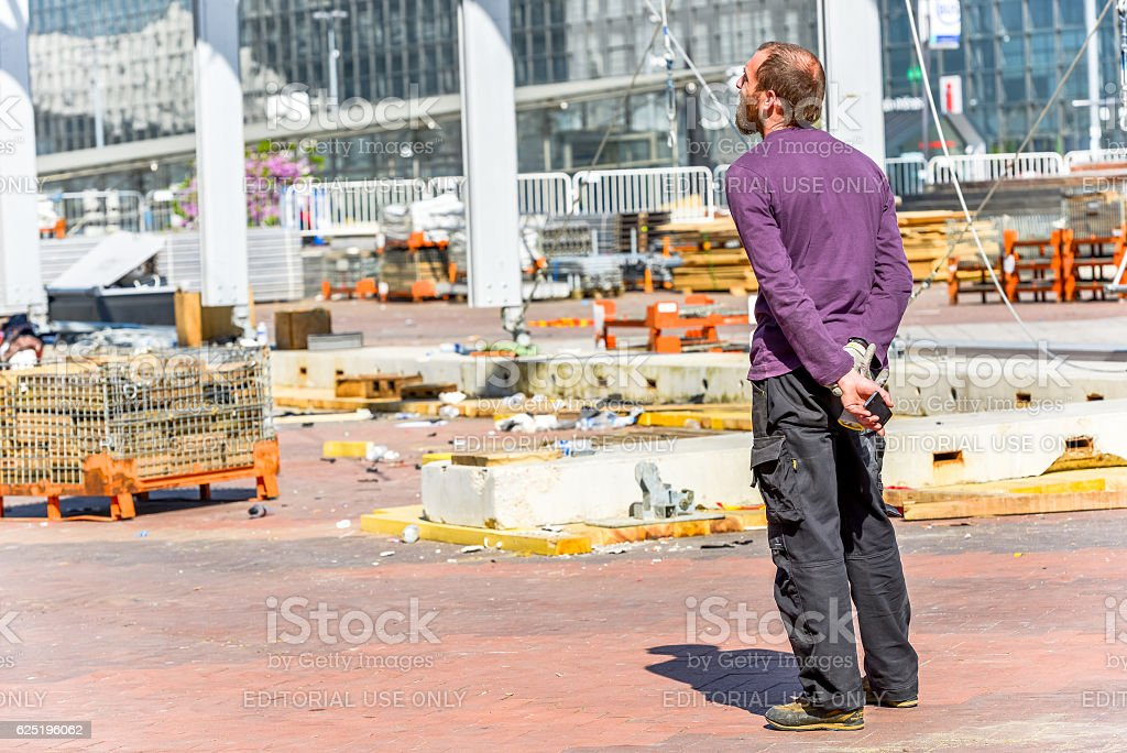 worker supervising on a building site stock photo