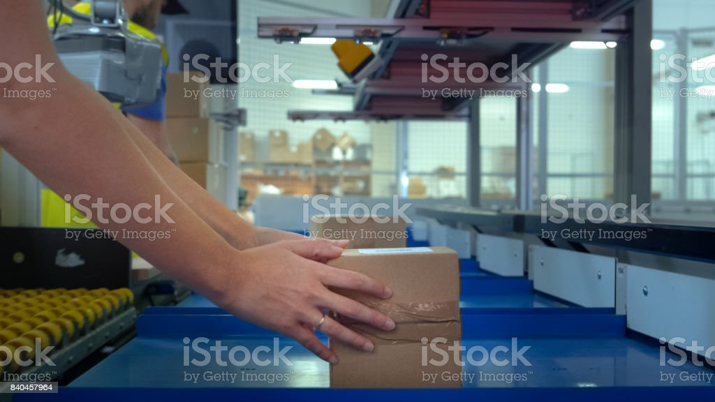 Worker Takes Parcel From Moving Belt Conveyor at Post Sorting Office. Box POV. stock photo