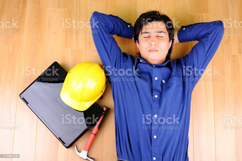 Worker taking a rest royalty-free stock photo