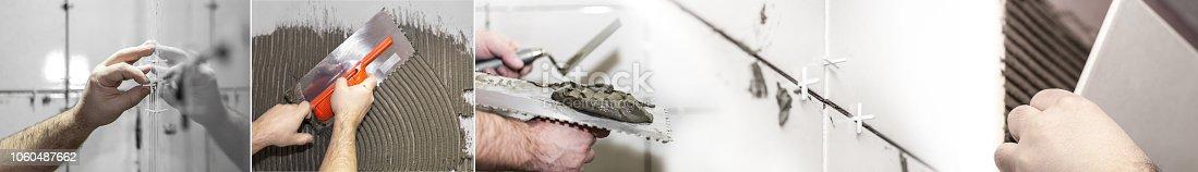 1138442636 istock photo Worker tiler puts ceramic tiles 1060487662