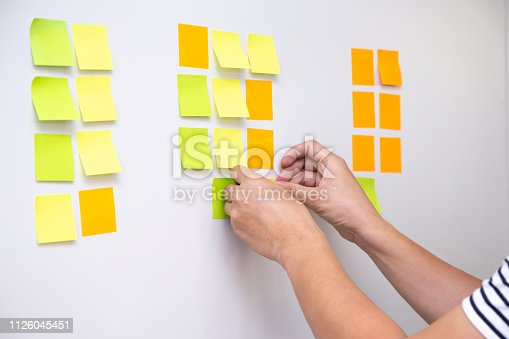 istock IT worker tracking his tasks on kanban board. Using task control of agile development methodology. Man attaching sticky note to scrum task board in the office 1126045451