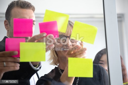 istock IT worker tracking his tasks on kanban board. Using task control of agile development methodology. Team members attaching sticky note to scrum task board in the office 1136732321
