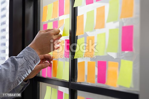 1059655118 istock photo IT worker tracking his tasks on kanban board. Using task control of agile development methodology. Man attaching sticky note to scrum task board in the office 1175644136