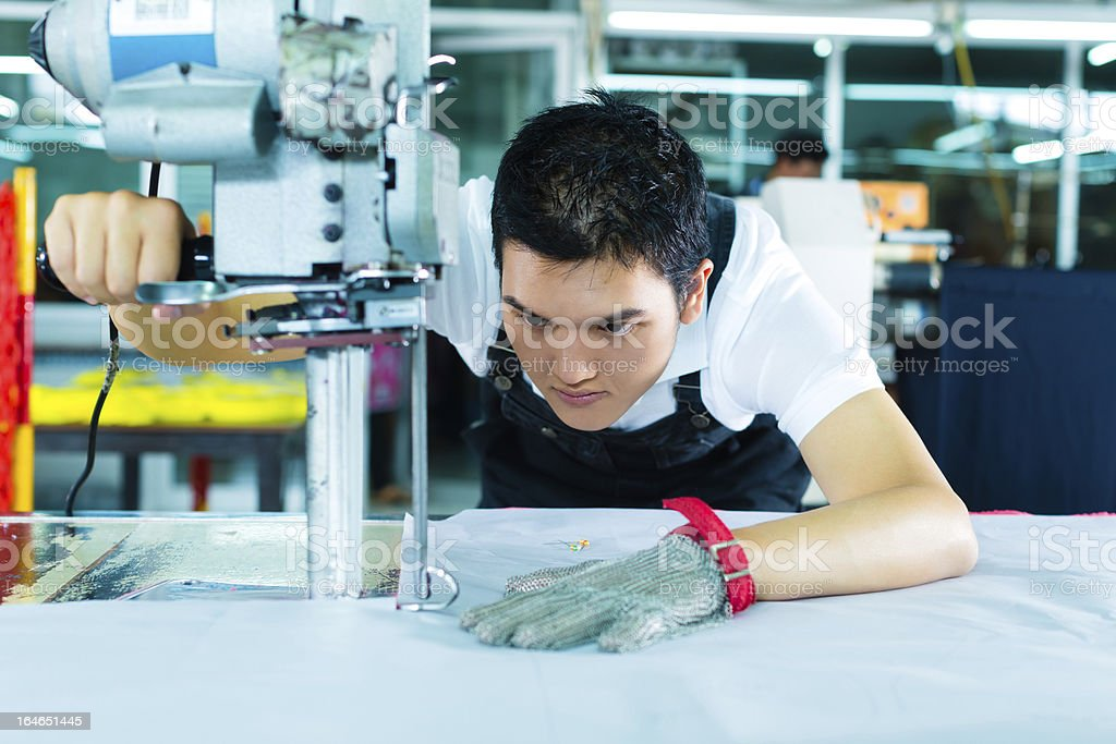 Worker using a machine in  factory stock photo