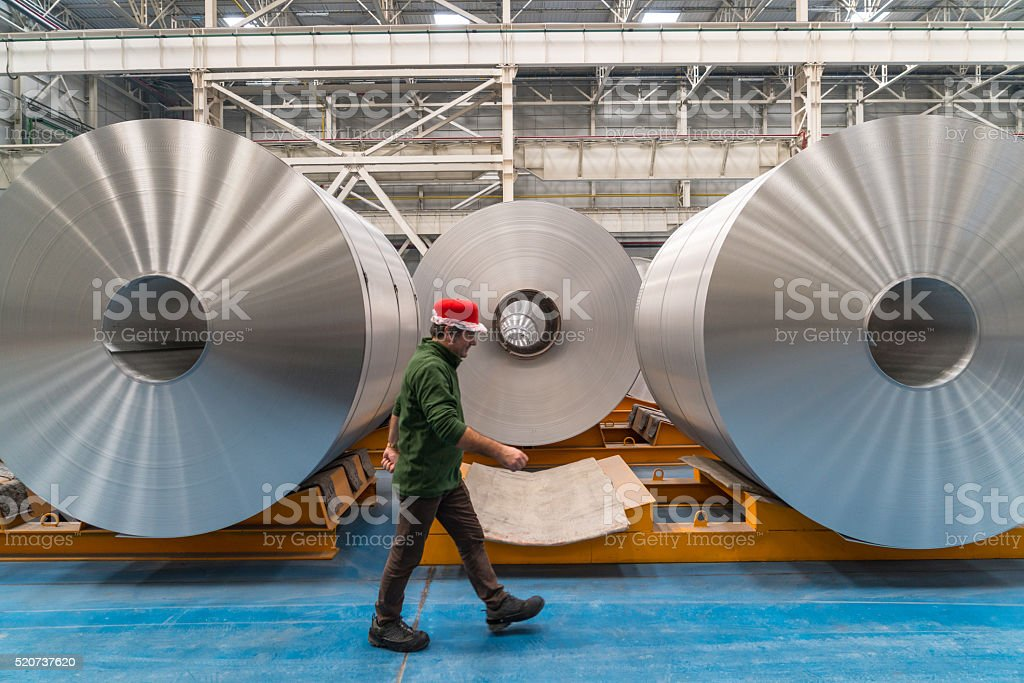 Worker walking in the factory stock photo
