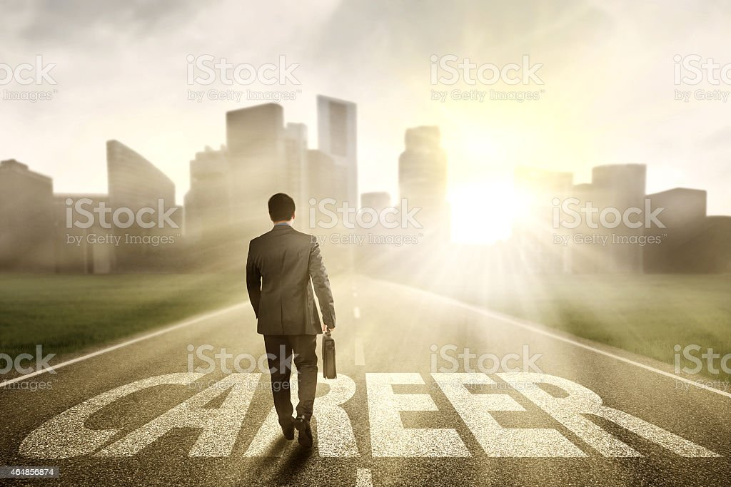 Worker walking to get bright career stock photo