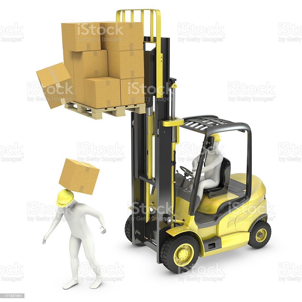 Worker was hit by cardoard falling from lift truck fork royalty-free stock photo
