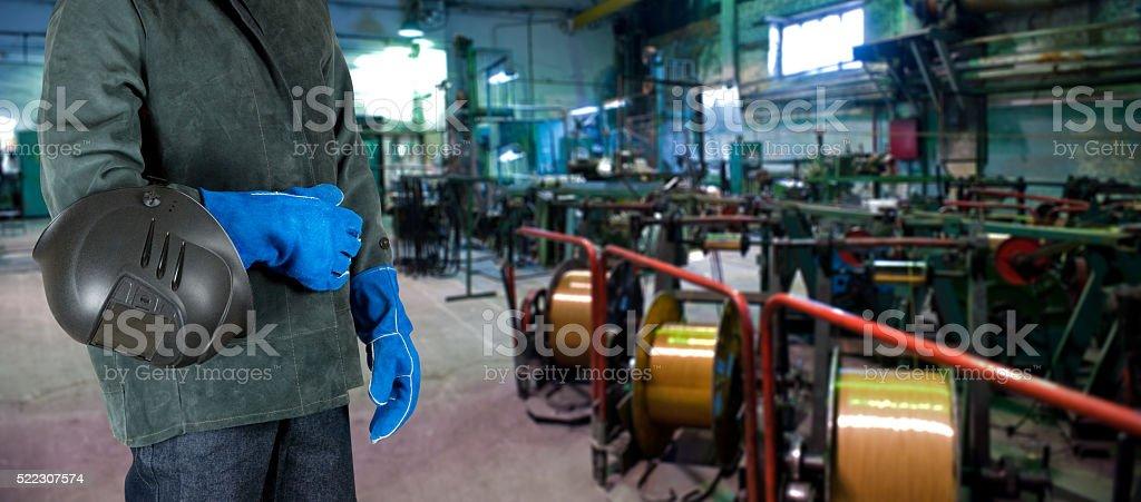 Worker welder at factory stock photo