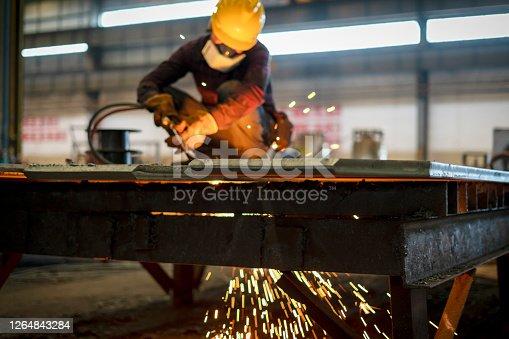 一個工人在焊接設備