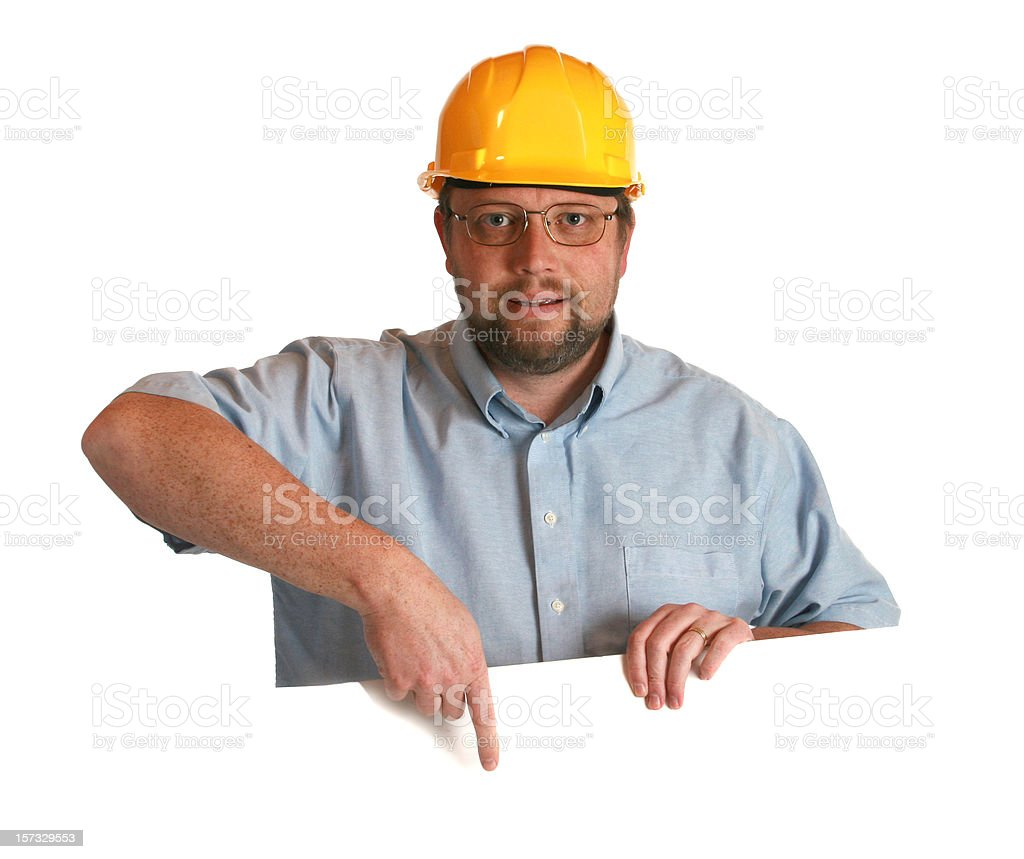 worker with blank sign royalty-free stock photo