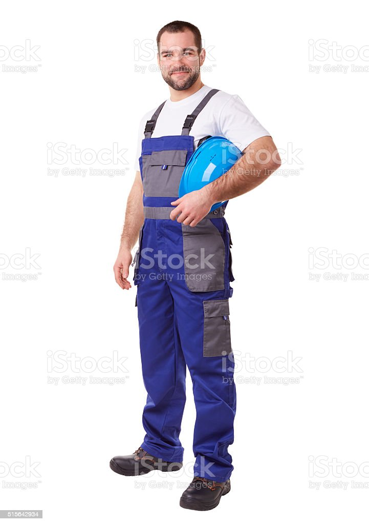 Worker with blue helmet stock photo