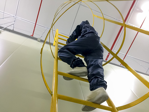 worker ,clean, room, suit, climbing, stair,high, working