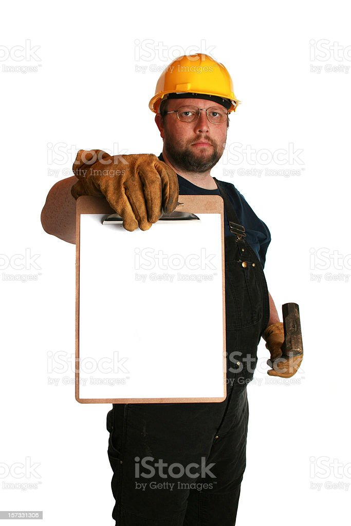worker with clipboard royalty-free stock photo