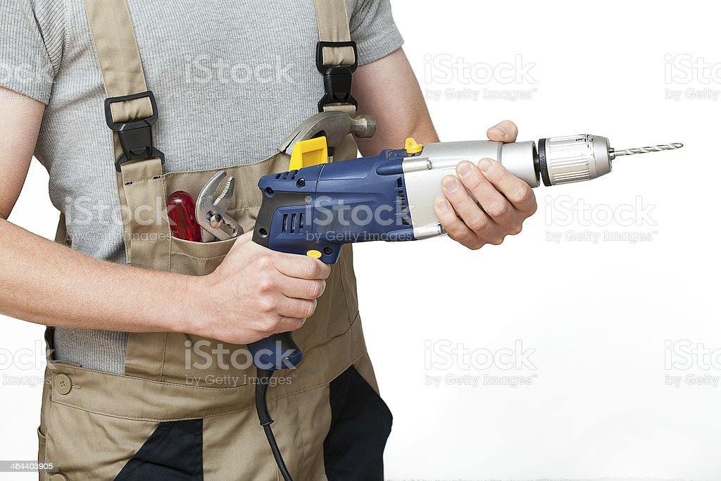 Worker with drill stock photo