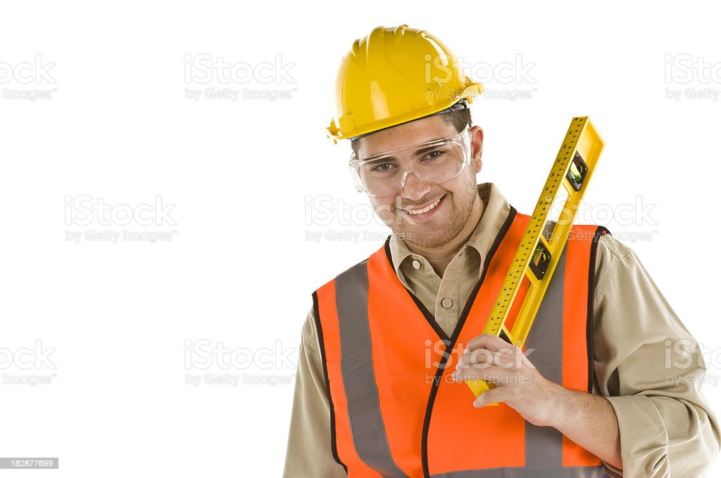 Worker with Level royalty-free stock photo
