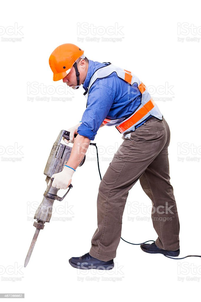 worker with pneumatic hammer drill equipment isolated on white stock photo