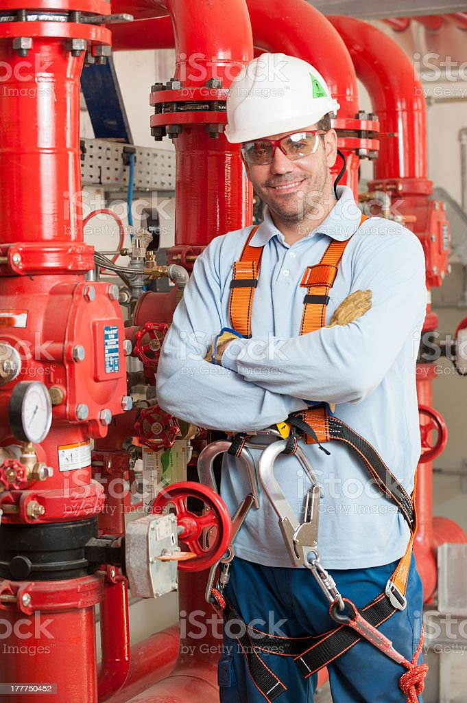 Worker with protective equipment stock photo