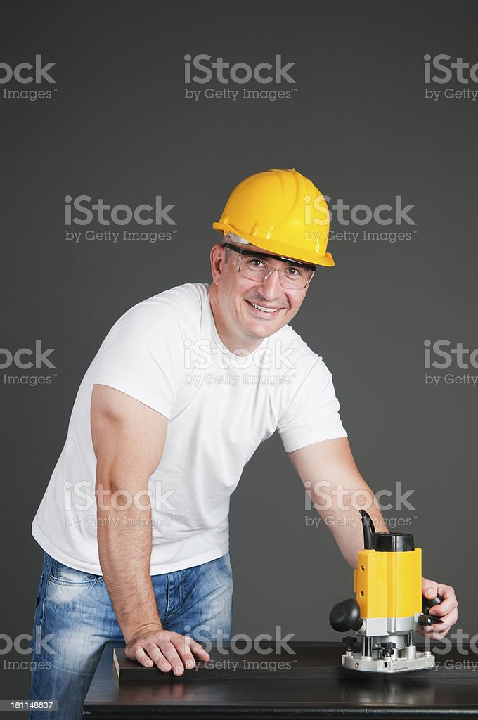 Worker with router royalty-free stock photo