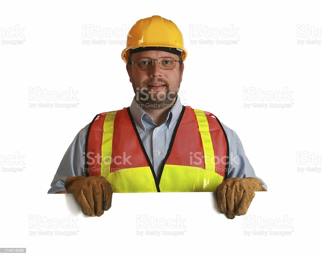 worker with sign royalty-free stock photo