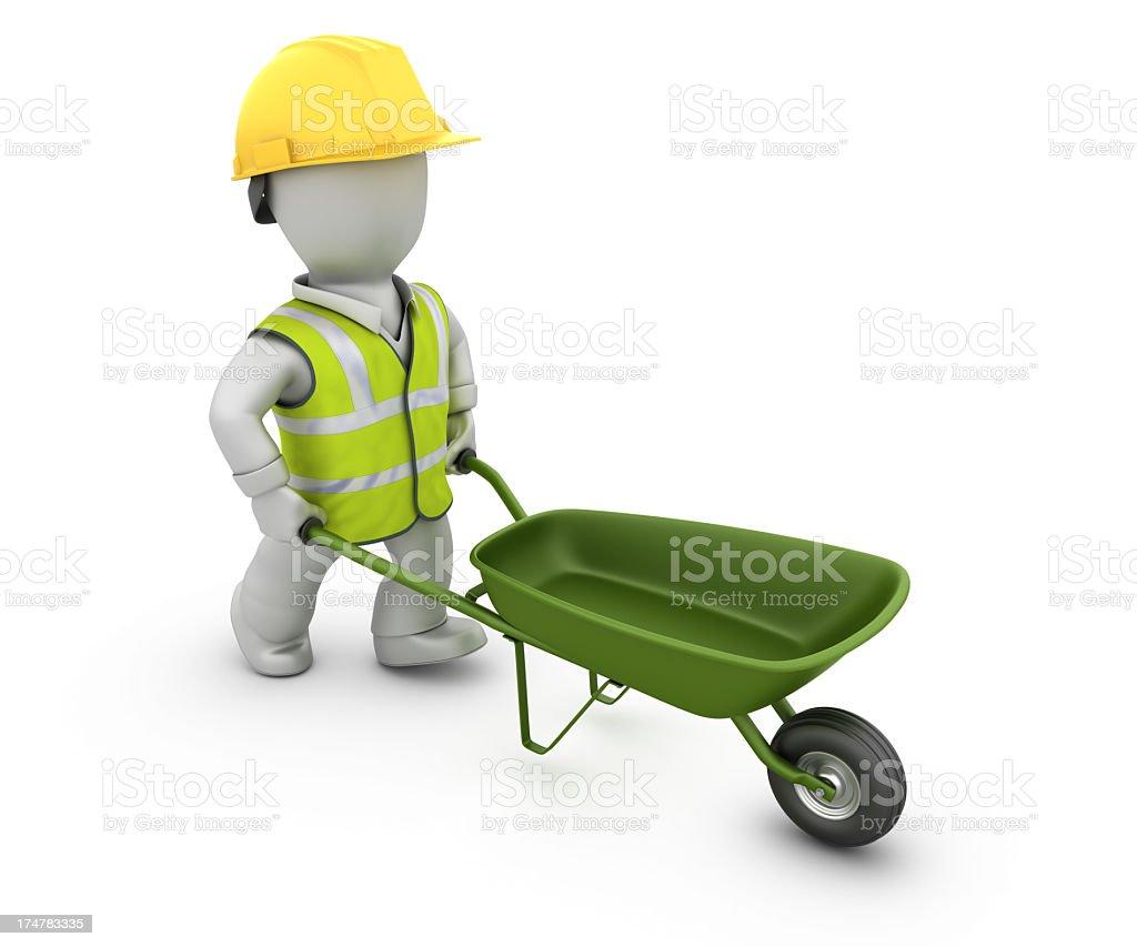 Worker with Wheelbarrow royalty-free stock photo