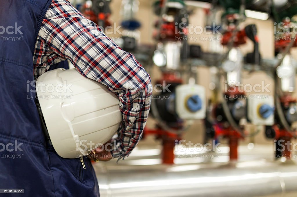 Worker with white helmet stock photo