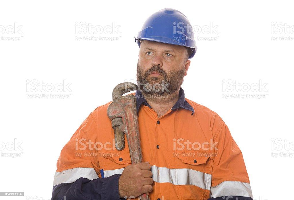 Arbeiter mit Stollenschlüssel Lizenzfreies stock-foto