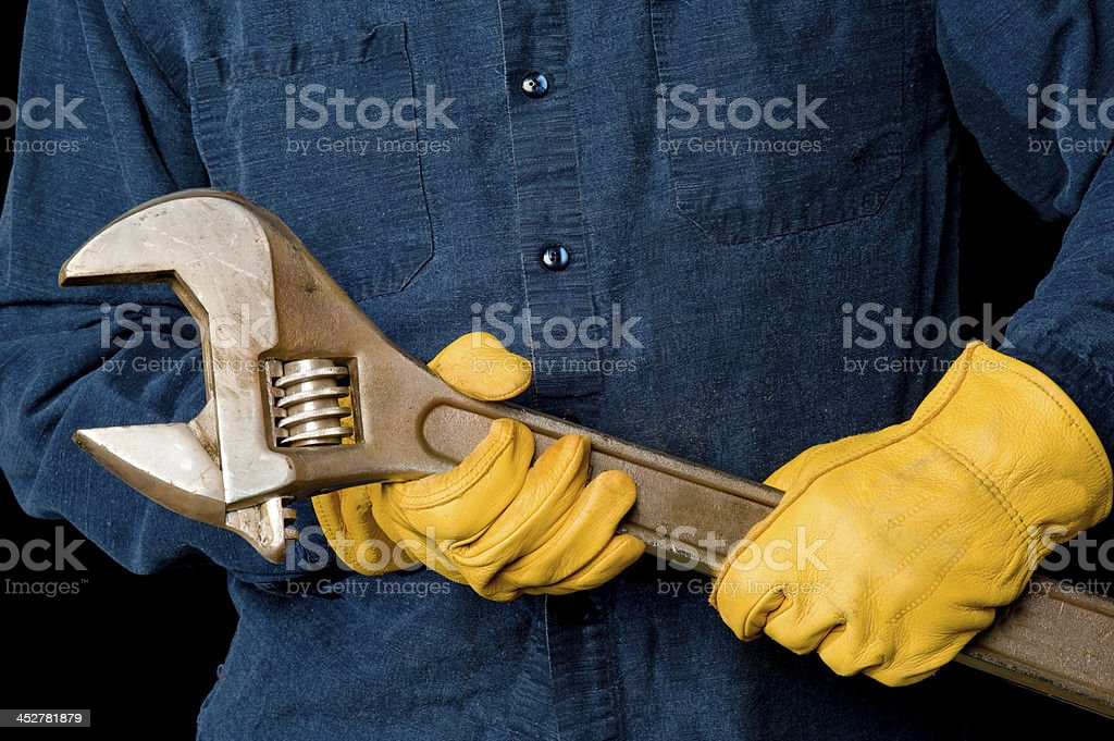 Worker with Wrench royalty-free stock photo