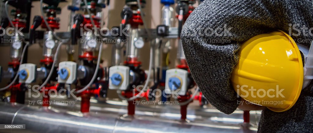 Worker with yellow helmet royalty-free stock photo