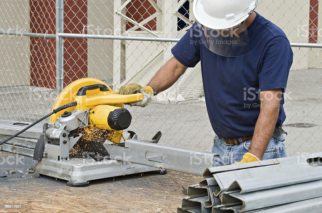 Worker Working with Saw royalty-free stock photo