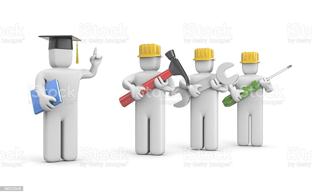 Workers and lecturer or academic royalty-free stock photo