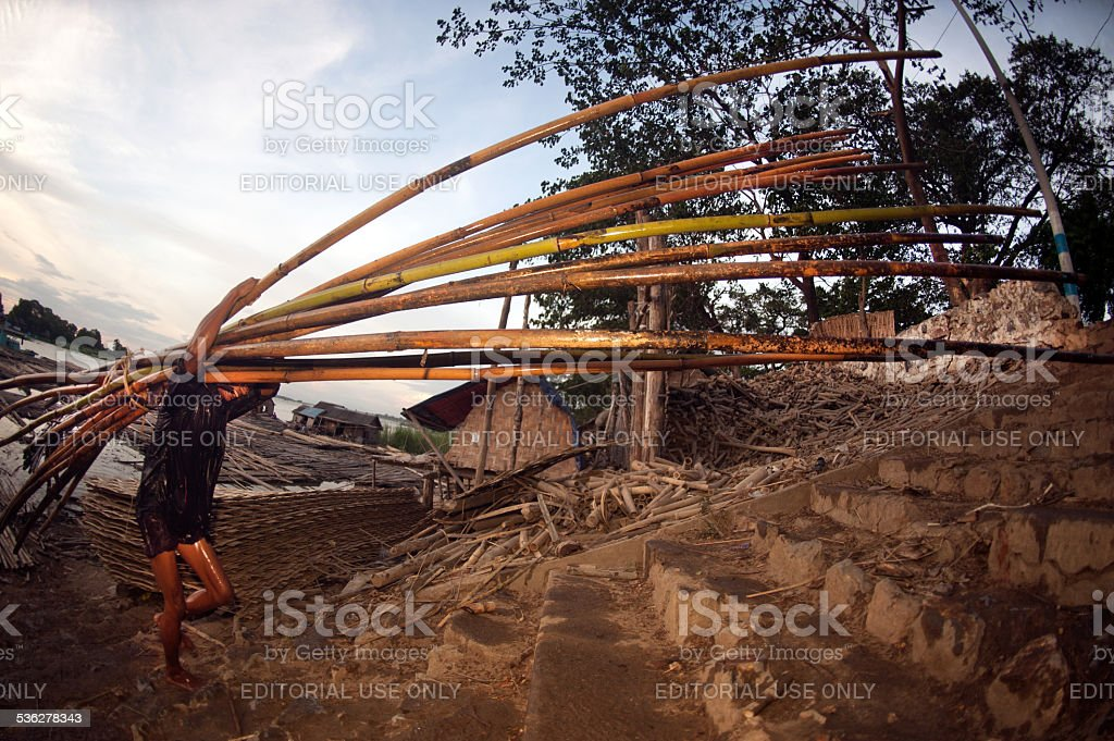 Workers ashore carrying bamboo. stock photo