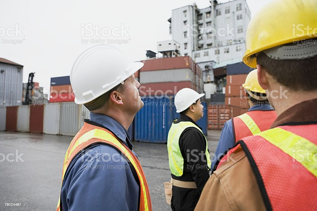 Workers at container terminal royalty-free 스톡 사진