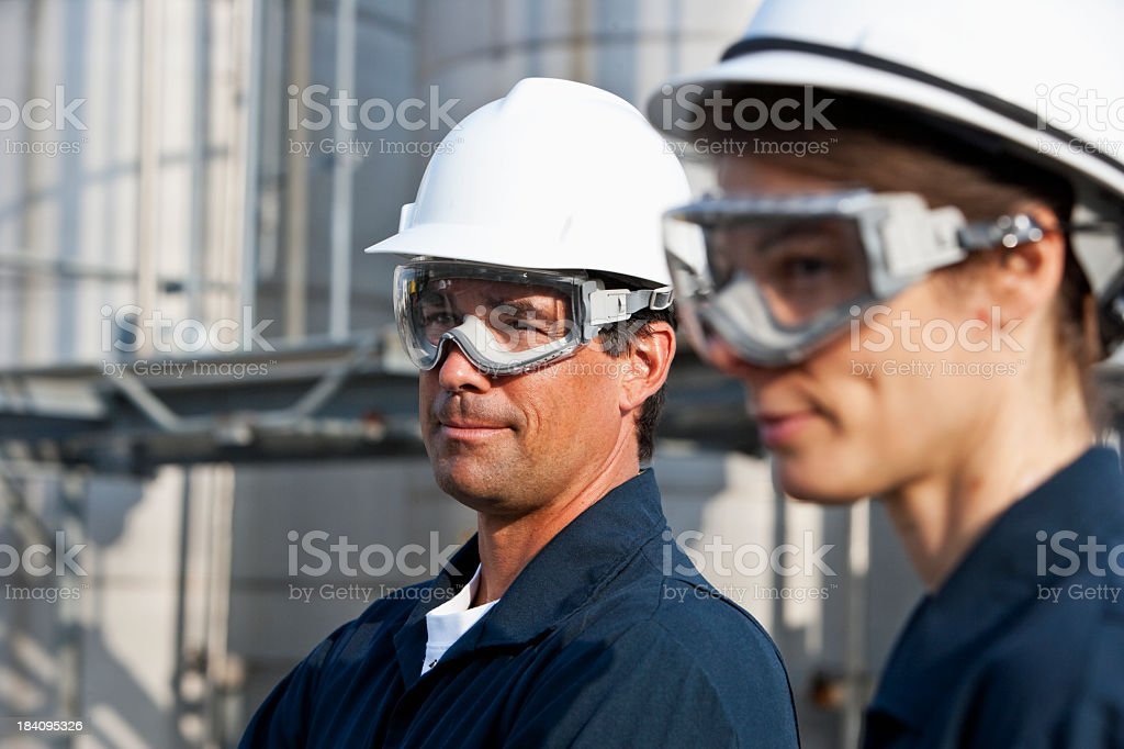 Workers at industrial plant stock photo