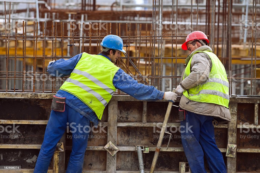 Workers at the construction site royalty-free stock photo