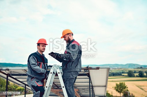 Workers Checking Solar Panel Impedance Results While Using Ladder To Measure