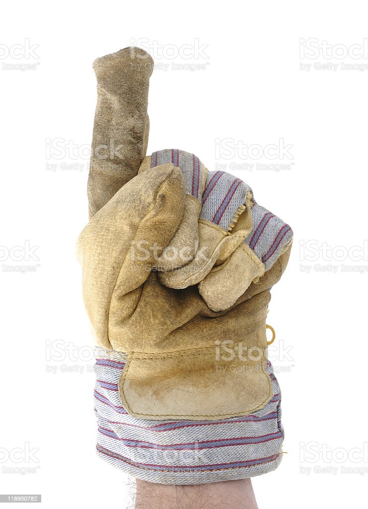 Worker's hand making the number one sign stock photo