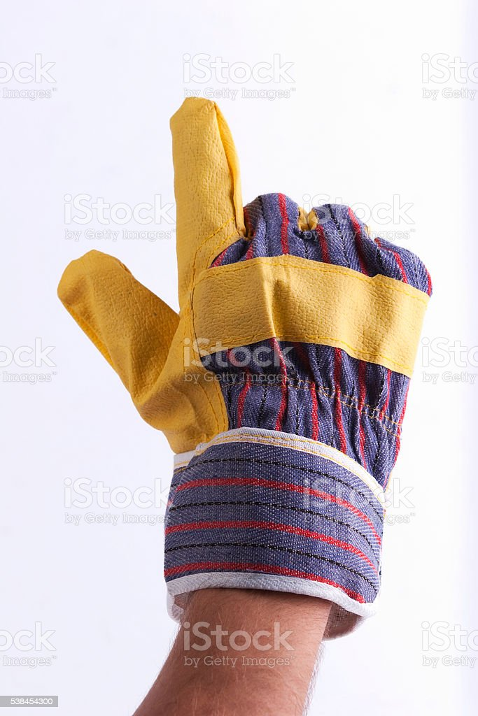 Worker's hand pointing something stock photo