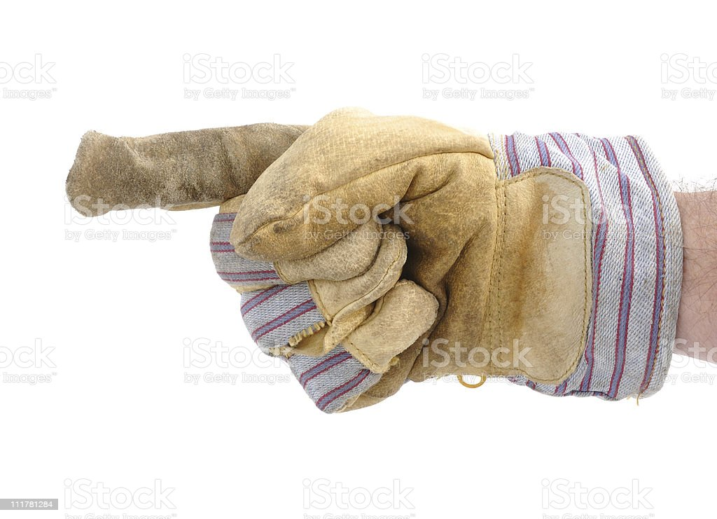 Worker's Hand Pointing to the Left stock photo