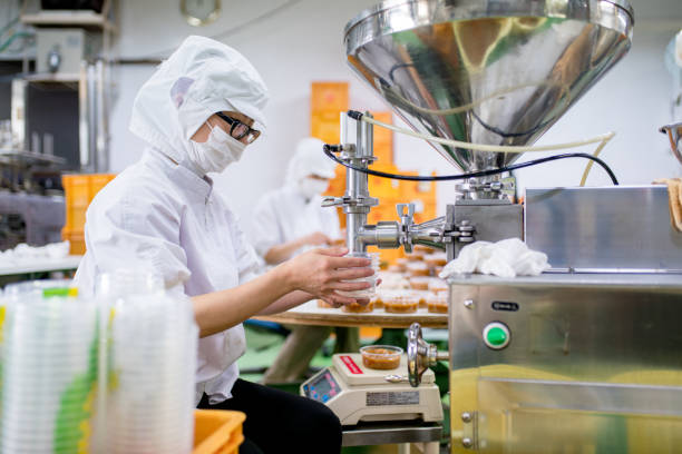 arbeitnehmer in einem lebensmittel verarbeitenden fabrik verpackung von lebensmitteln - nahrungsmittelfabrik stock-fotos und bilder
